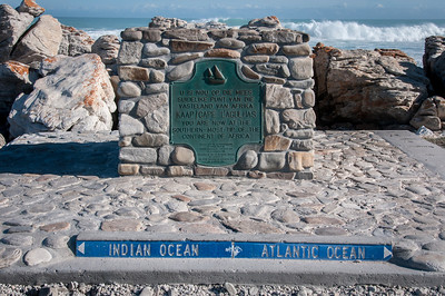 A marker at Cape Agulhas indicates the official dividing line between the Atlantic and Indian oceans