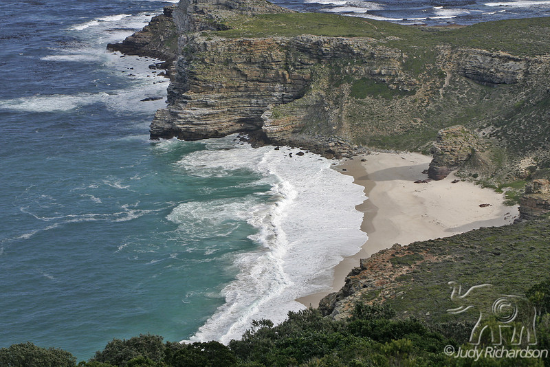 The Cape of Good Hope; looking towards the west, from the coastal cliffs above Cape Point