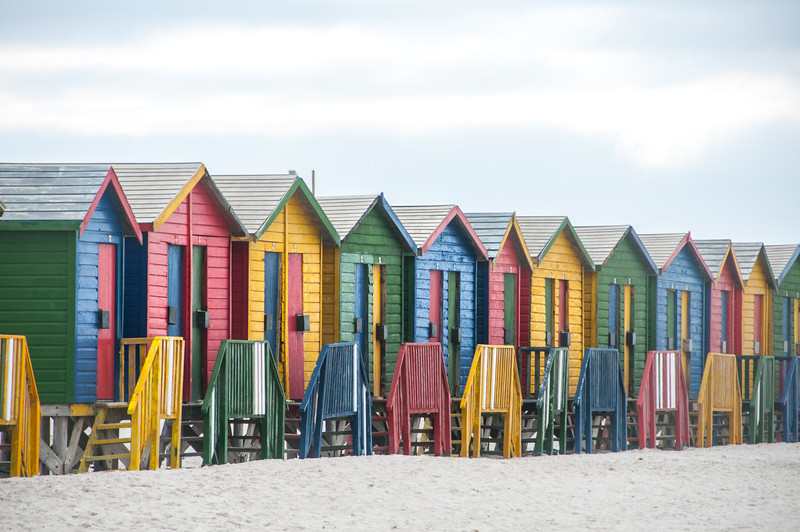 Row of colorful beach houses in Cape Town