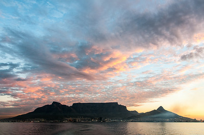 Sunset over Cape Town in South Africa