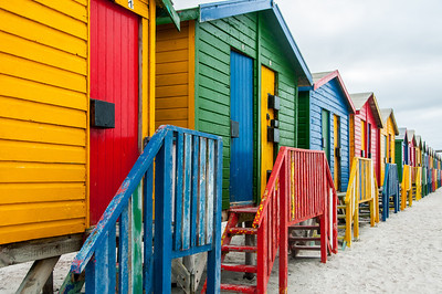 Row of colorful wooden Beach houses in Cape Town, South Africa