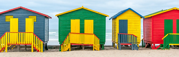 Colorful beach houses in Cape Town, South Africa