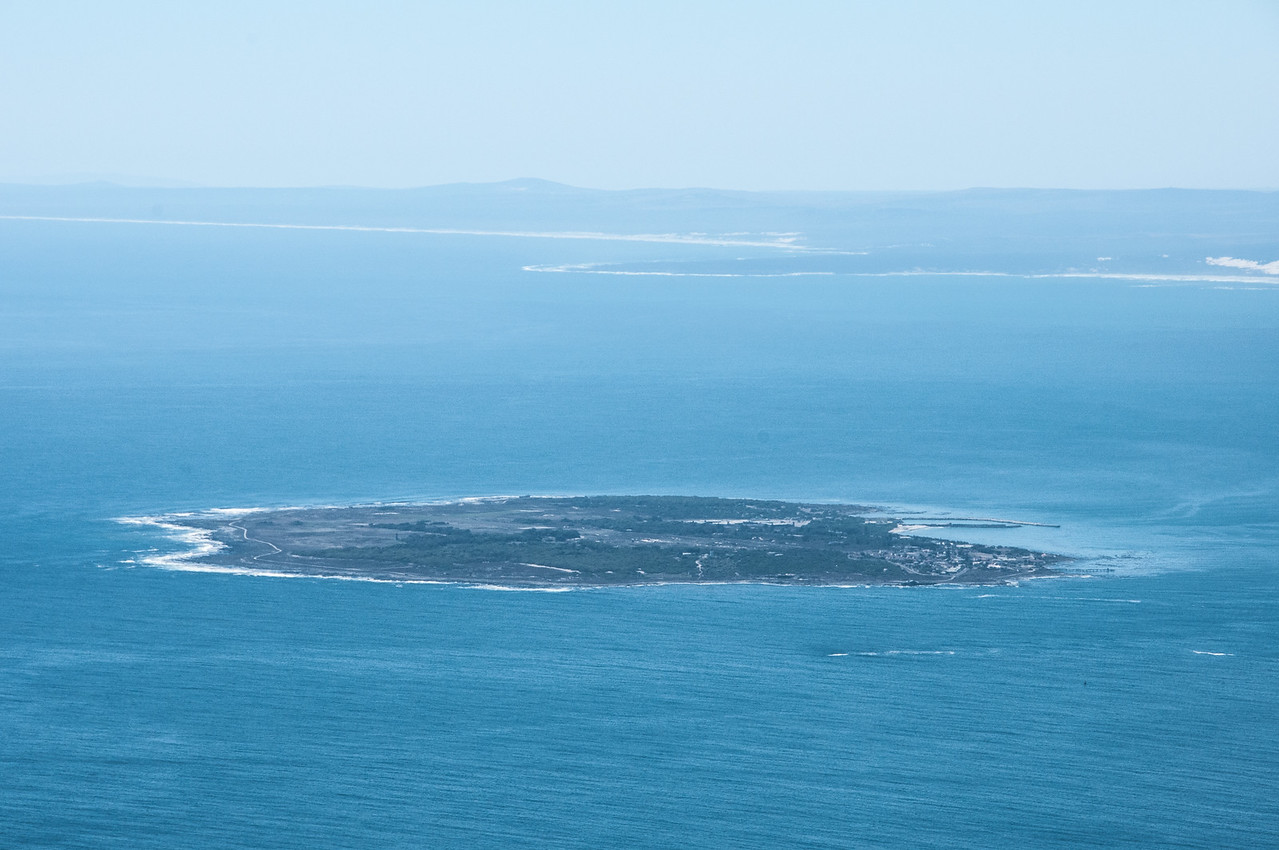 Robben Island as seen from Cape Town, South Africa