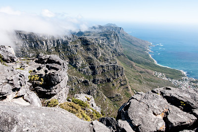 Cliffs as seen from Lion's Head in Cape Town, South Africa