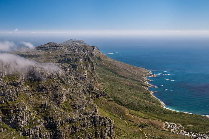 View from table mountain out into the Atlantic Ocean.