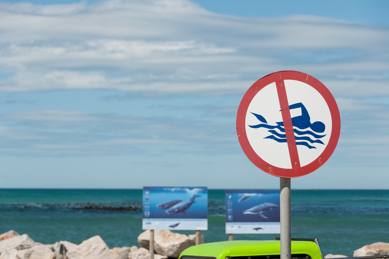 No swimming sign in Hermanus, South Africa