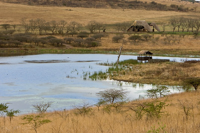 Lake with hippo hide, Tala Private Game Reserve