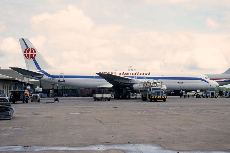 "3D-AFX Douglas DC-8-54F ""African International"" c/n 45886 Luxembourg/ELLX/LUX 10-05-97 (35mm slide)"