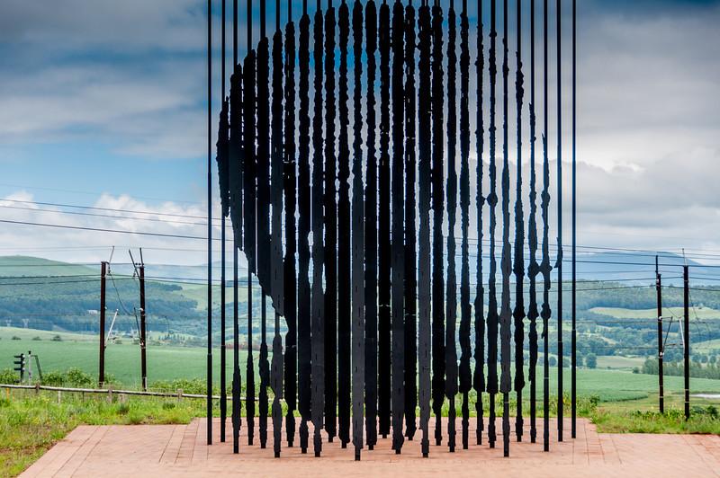 Marco Cianfanelli's modern steel sculpture of Nelson Mandela in Pietermaritzburg, South Africa