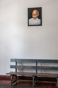 Framed portrait of Gandhi inside the Gandhi House - Pietermaritzburg, South Africa