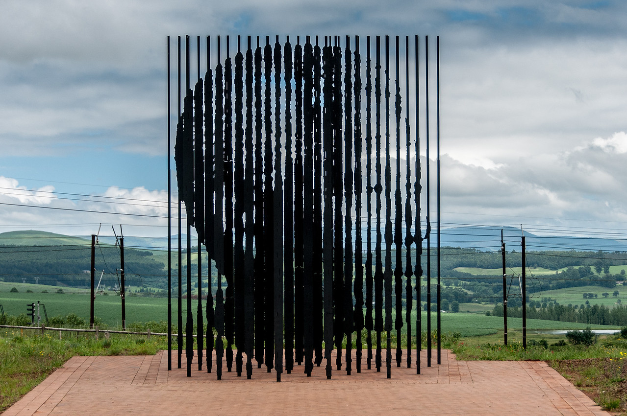 Marco Cianfanelli's modern steel sculpture of Nelson Mandela in Pietermaritzburg, South Africa