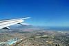 Flying into Cape Town, note the table cloth is covering Table Mountain