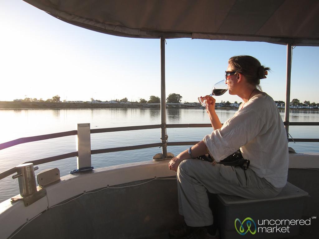 Audrey Drinks Wine at Dusk, Berg River - Port Owen, Western Cape
