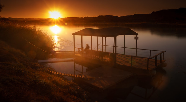 Beautiful sunset at peaceful Orange River.