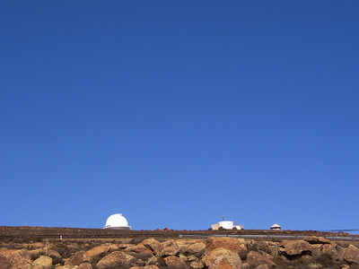 Looking up towards the telescopes from the residence.