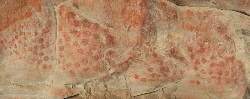 Rock paintings (bushman art) in Eland's Bay Cave, estimated to be between 200 and 6,000 years.