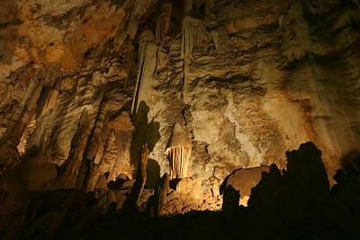 A mushroom-like stalagmite in Wonder Cave