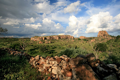 Mapungubwe Hill with Bambandyanalo stone-walling in foreground