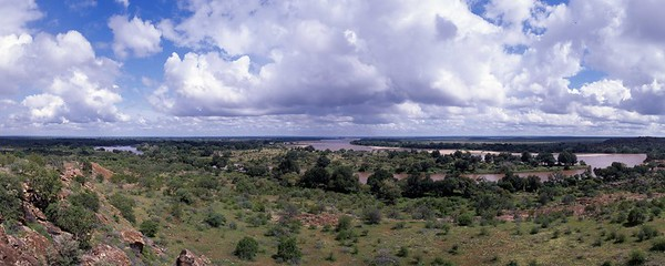 Confluence of the Shashe and Limpopo Rivers, forming the common boundary between South Africa, Botswana, and Zimbabwe.