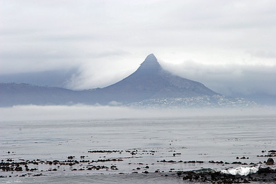 Lion's Head and Cape Town seen from the shores of Robben Island.