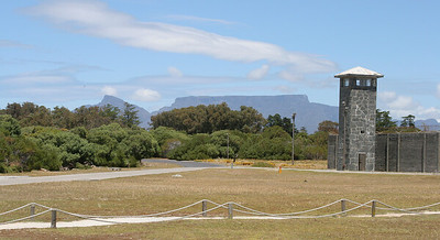 Entrance to prison with Table Mountain in background