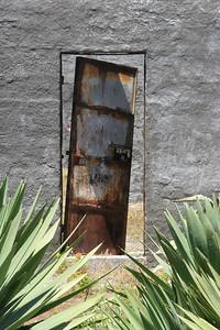 Abandoned prison door