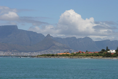 Robben Island with Table Mountain and Cape Town in the background