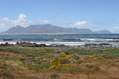 Table Mountain and Cape Town, viewed from the shores of Robben Island.