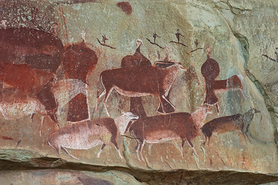 Rock paintings such as this at Game Pass Shelter can be as old as 3,000 years.