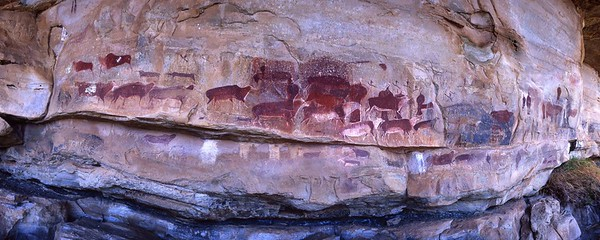 """Rock painting at Game Pass Shelter, often referred to as the """"Rosetta Stone"""" of southern African rock art."""