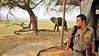 But in order to get to our tent, our guide has to escort us so that we don't get in the way of the resident elephants.