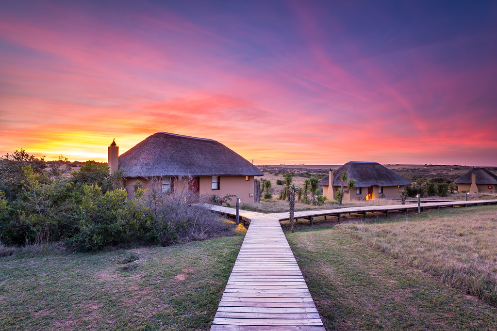Sunset at Hlosi Game Lodge, Amakhala Nature Reserve, Eastern Cape.
