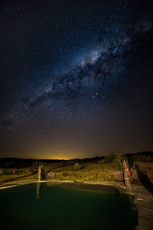 The Milky Way over the swimming pool at Hlosi Lodge in Amakhala Game reserve, Eastern Cape