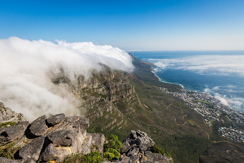 Table Mountain & Camps Bay in low cloud