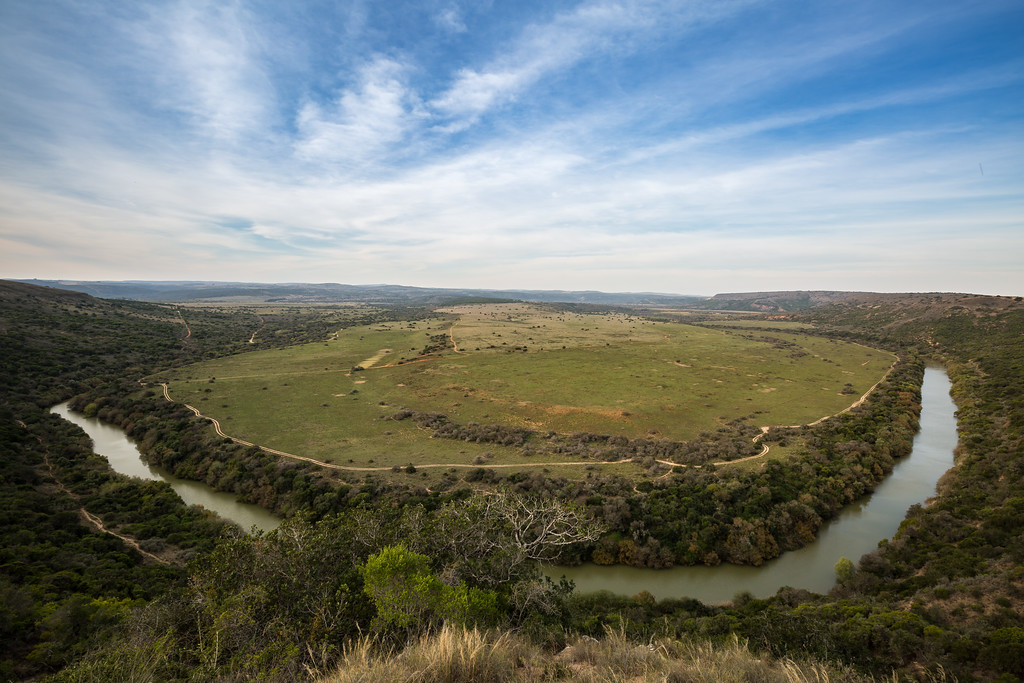 The plains of Amakhala Game reserve surrounded by the Bushmans River.