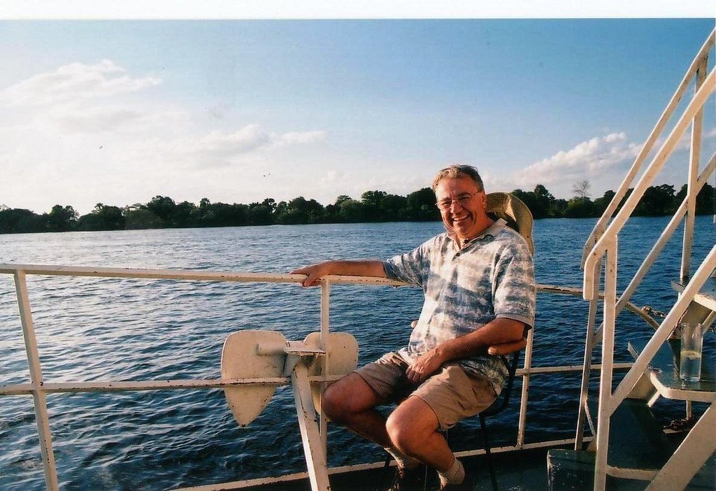 An evening cruise on the Upper Zambezi, a different sort of ride from the Jet boat earlier. 2002