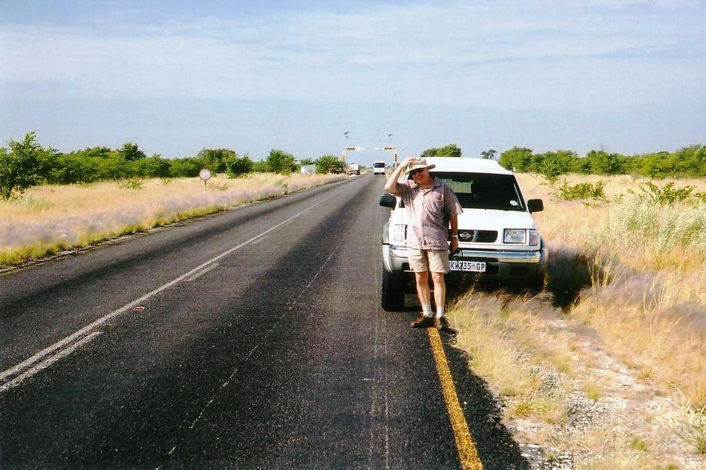 the trusty Nissan, on the A3 up from Francistown Botswana 2002