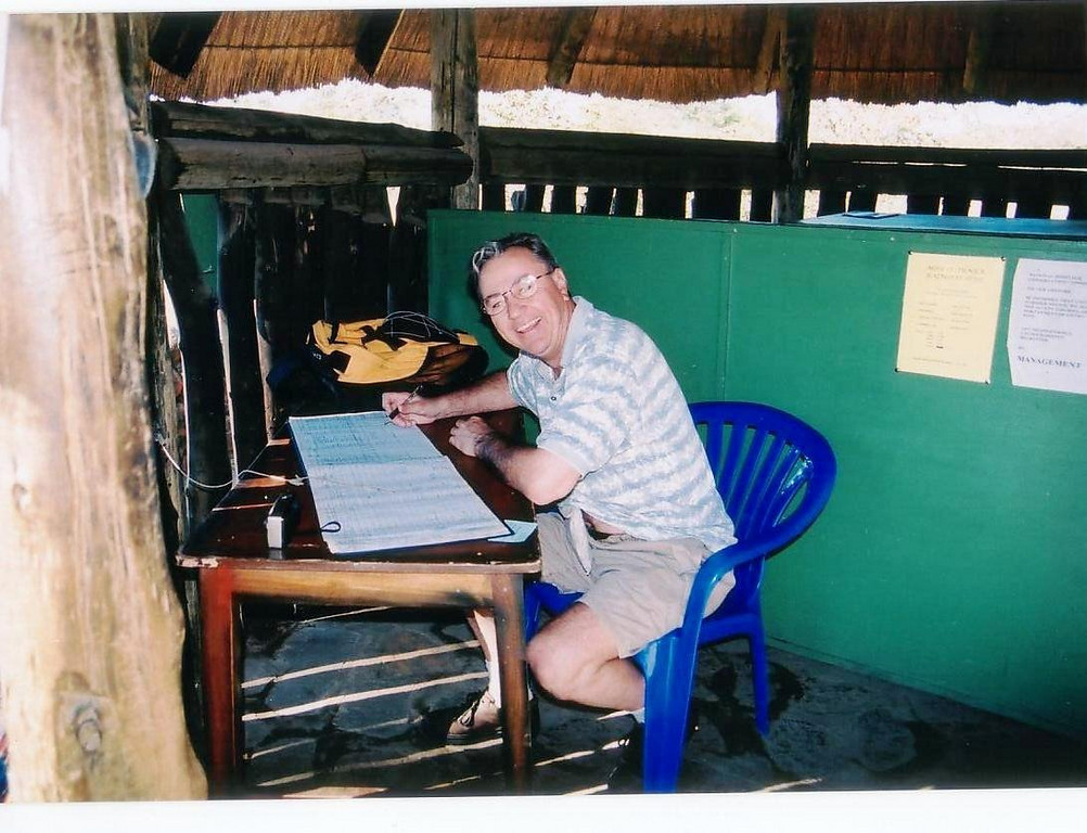 signing the regisitry book into Zambia at the Victoria Falls crossing. 2002