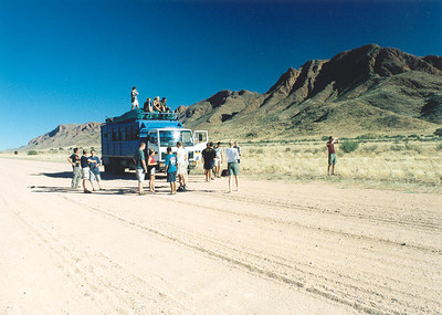 Our truck on a Namibian road