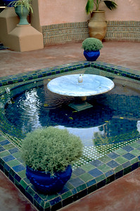 Fountain. After Yves Saint Laurent died in 2008 his ashes were scattered in the Majorelle Garden as he owned it since 1980.