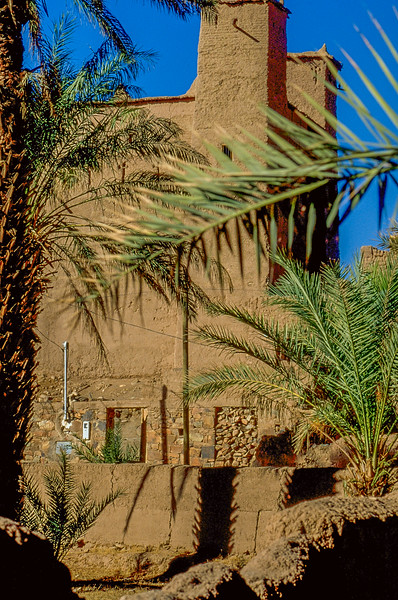 Village with Kasbah on the border to the desert