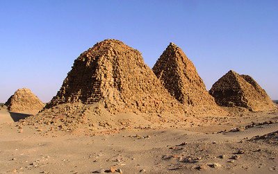 Ruined pyramids, Nuri.  Across the river from Karima, Nuri is the site of many funerary pyramids of Egypt's 25th or Nubian Dynasty.