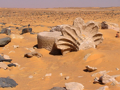 Amara ruins, near Abri.  All that are left are potsherds and a couple of scattered items such as this capital.