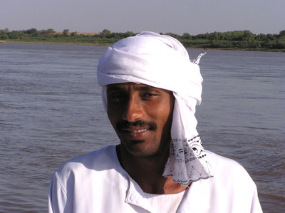 Ferryman, Wawa, Sudan.  Soleb temple is on the western shore of the Nile, so a ferry is needed to cross from Wawa.