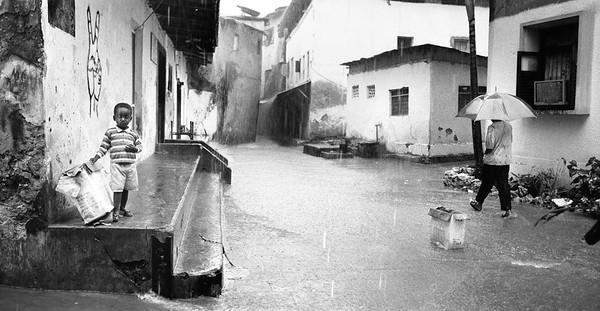Rain in Zanzibar (Black and white)