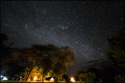 Under a sea of stars, campsite at Tarangire NP
