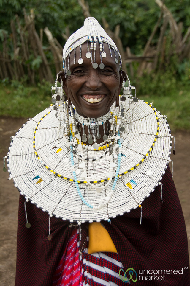 Maasai Woman all Dressed Up for Local Party - Tanzania
