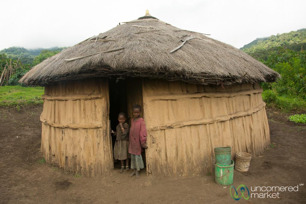 Maasai Kids at their Hut's Door - Tanzania