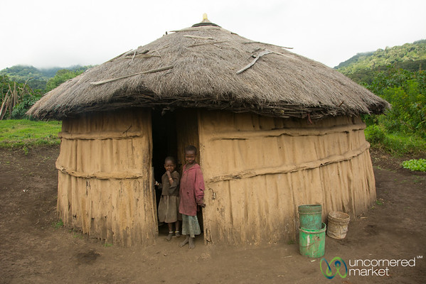 Maasai Kids at their Hut's Door - Tanzania