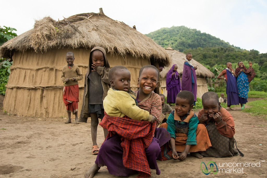 Maasai Children Greet Us in the Village - Tanzania